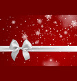 realistic white bow and ribbon isolated on red vector image vector image