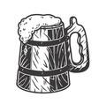 retro wooden beer mug with foam bar menu vector image vector image