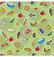 Seamless background with different food vector image vector image