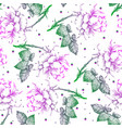 seamless pattern of hand-drawn flowers vector image vector image