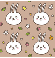 Seamless pattern with doodle rabbits and flowers vector image vector image