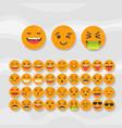 set of cute fruit smiley orange emoticons vector image vector image