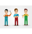 set of friendly young plumbers vector image