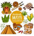 set of icons for ancient maya culture vector image
