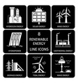 set of renewable energy silhouette icons vector image