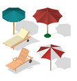 set umbrella on beach vector image