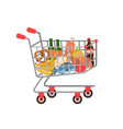 shopping cart full grocery trolley fruits vector image