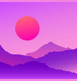 vaporwave mountains landscape at sunset vector image vector image