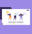 virtual reality landing page augmented reality vector image vector image