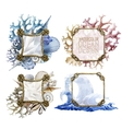 Watercolor rope frames with ocean design vector image vector image