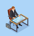 workplace of the future businessman or manager vector image vector image