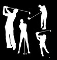 white silhouette of a golfer man on a black vector image
