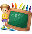 A boy beside a board with crayons at the back vector image vector image
