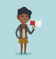 african woman promoter speaking into loudspeaker vector image vector image