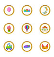 amusement rest icon set cartoon style vector image vector image