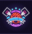 basketball club neon design or emblem vector image vector image