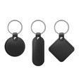black leather keychain with metal ring vector image vector image