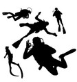 black silhouette of diving on whit background vector image
