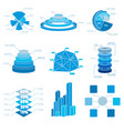 blue chart icons set vector image