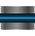 blue light line technology in metal circle mesh vector image vector image
