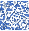 blueberry seamless pattern with floral elements vector image vector image