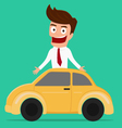 Businessman with car Investment concept vector image