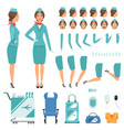 constructor characters stewardess vector image vector image