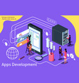 creative isometric app development vector image