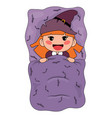 cute cartoon witch lying in a bed vector image