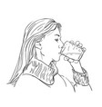drawing young woman drinking clear water vector image