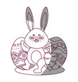 figure rabbit easter with decorated eggs and vector image vector image