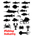 fish and seafood black icon for fishing design vector image