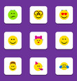flat icon emoji set of cold sweat love party vector image vector image