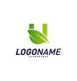 font with leaf logo design concepts nature letter vector image