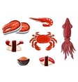 Fresh seafood and sea animals vector image