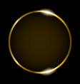 golden round frame isolated on black background vector image vector image