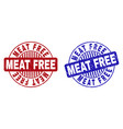 grunge meat free textured round stamp seals vector image vector image