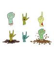 halloween zombie hand gesture set - realistic vector image