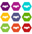 handshake icon set color hexahedron vector image vector image