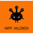Happy Halloween greeting card Black silhouette vector image vector image