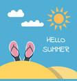 hello summer flip flops beach vector image vector image