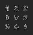 japan chalk white icons set on black background vector image