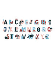 kids alphabet childish english letter pack vector image