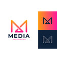m initial letter logo design template - abstract vector image vector image