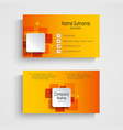 Modern orange square business card template vector image vector image