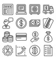 money icon set on white background line style vector image vector image