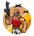 muscular soldier mascot character vector image vector image
