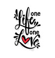 one life one love hand lettering calligraphy vector image