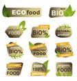 organic food badges set natural eco fresh food vector image