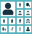 person icons set collection of work man user vector image vector image